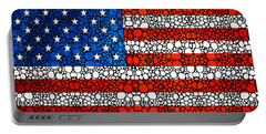 American Flag - Usa Stone Rock'd Art United States Of America Portable Battery Charger by Sharon Cummings