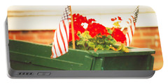 American Flags And Geraniums In A Wheelbarrow In Maine, Two Portable Battery Charger