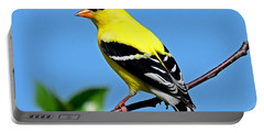 American Goldfinch Portable Battery Charger by Rodney Campbell