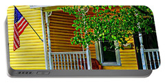 American Porch In Yellow Portable Battery Charger by Desiree Paquette