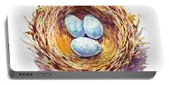 American Robin Nest Portable Battery Charger by Irina Sztukowski
