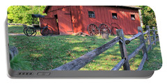Amish Barn Along A Fenceline Portable Battery Charger