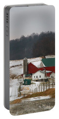 Amish Barn In Winter Portable Battery Charger