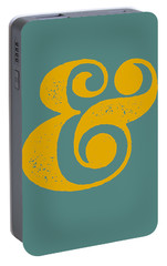 Ampersand Poster Blue And Yellow Portable Battery Charger by Naxart Studio