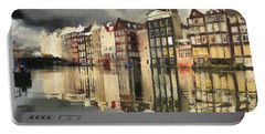 Amsterdam Cloudy Grey Day Portable Battery Charger by Georgi Dimitrov
