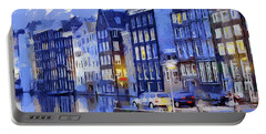 Amsterdam With Blue Colors Portable Battery Charger by Georgi Dimitrov