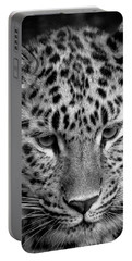 Amur Leopard In Black And White Portable Battery Charger