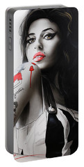 Amy Winehouse - ' Amy ' Portable Battery Charger by Christian Chapman Art