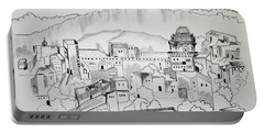 Portable Battery Charger featuring the drawing Ancient City In Pen And Ink by Janice Rae Pariza