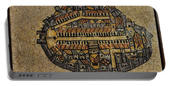 Ancient Jerusalem Mosaic Map Color Framed Portable Battery Charger