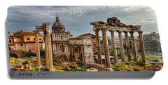 Ancient Roman Forum Ruins - Impressions Of Rome Portable Battery Charger by Georgia Mizuleva