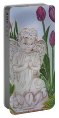Portable Battery Charger featuring the painting Angel In The Garden by Sharon Schultz