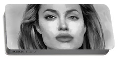 Angelina Jolie Black And White Portable Battery Charger