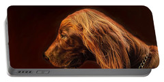 Portable Battery Charger featuring the photograph Angus Irish Red Setter by Wallaroo Images