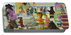 Portable Battery Charger featuring the painting Animal Supermarket by Martin Davey
