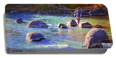 Animas River Fly Fishing Portable Battery Charger by Janice Rae Pariza