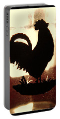Antique Glass Chicken Silhouette Portable Battery Charger by Kathy Barney