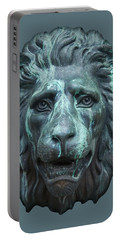 Antique Lion Face In Blue Portable Battery Charger