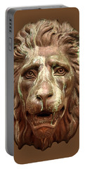 Antique Lion Face In Brown Portable Battery Charger