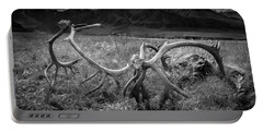 Antlers In Black And White Portable Battery Charger by Andrew Matwijec