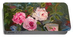 Portable Battery Charger featuring the painting Anyone For Tea? by Jenny Lee