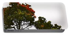 Portable Battery Charger featuring the photograph Apapane Atop An Orange Ohia Lehua Tree  by Lehua Pekelo-Stearns