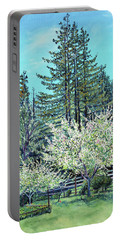 Apple Blossoms And Redwoods Portable Battery Charger by Asha Carolyn Young
