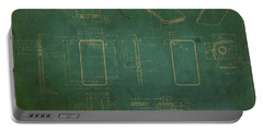 Apple Iphone Vintage Retro Blueprints Plans On Worn Distressed Canvas Portable Battery Charger