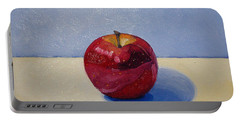 Apple - White And Blue. Portable Battery Charger by Katherine Miller