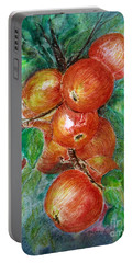 Portable Battery Charger featuring the painting Apples by Jasna Dragun