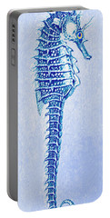 Portable Battery Charger featuring the digital art Aqua Seahorse- Right Facing by Jane Schnetlage