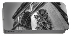 Arc De Triomphe In Black And White Portable Battery Charger