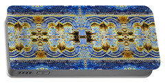 Portable Battery Charger featuring the digital art Arches In Blue And Gold by Stephanie Grant