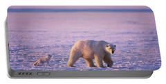 Arctic Fox Follows A Polar Bear Portable Battery Charger