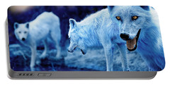 Arctic White Wolves Portable Battery Charger by Mal Bray