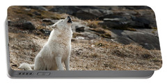 Portable Battery Charger featuring the photograph Arctic Wolf Howling by Wolves Only