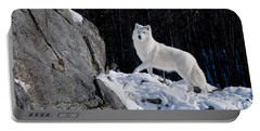 Portable Battery Charger featuring the photograph Arctic Wolf On Rock Cliff by Wolves Only
