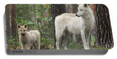 Arctic Wolf With Pup, Canis Lupus Albus Portable Battery Charger