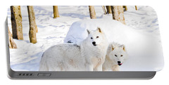 Arctic Wolves Portable Battery Charger by Cheryl Baxter