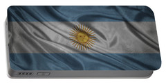 Argentinian Flag Waving On Canvas Portable Battery Charger by Eti Reid