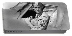 Army Pilot Looking Out Window Portable Battery Charger