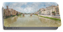 Arno River Florence Italy Portable Battery Charger by James Hammond