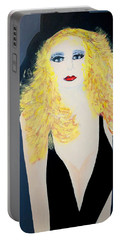 Art Deco Girl With Black Hat Portable Battery Charger
