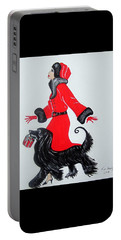 Art Deco  Girl With Red  Coat Portable Battery Charger