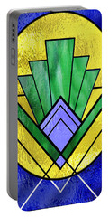 Art Deco - Pattern Two - Yellow Oval  Portable Battery Charger