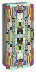 Art Deco Stained Glass 2 Portable Battery Charger by Ellen Henneke