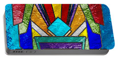 Art Deco - Stained Glass 6 Portable Battery Charger by Chuck Staley