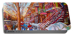 Art Of Montreal Staircases In Winter Street Hockey Game City Streetscenes By Carole Spandau Portable Battery Charger