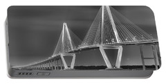 Arthur Ravenel Jr. Bridge In Black And White Portable Battery Charger by Adam Jewell