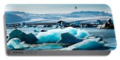 Artic Tern Over Jokulsarlon Glacier Lagoon Portable Battery Charger